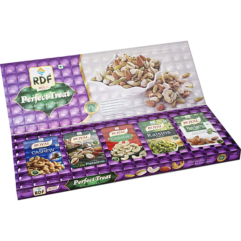 RDF Royal Dry Fruits Perfect Treat Gift Pack 100gx5 Pistachio, Badam Giri, Cashew, Masala Cashew, Raisins