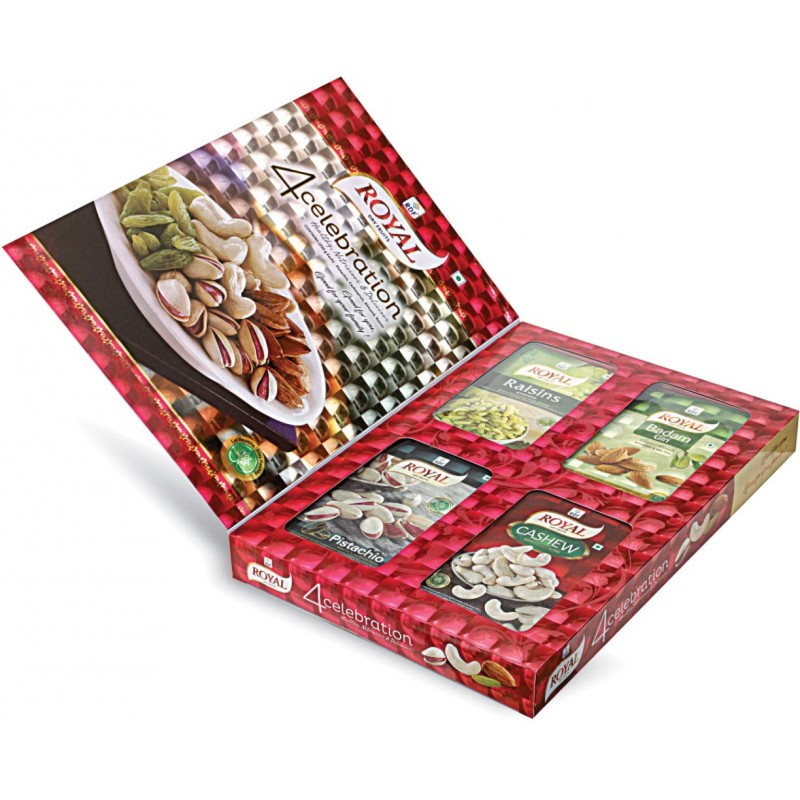 RDF Royal Dry Fruits 4celebration Gift Pack 250gx4 Pistachio, Badam Giri, Cashew, Raisins