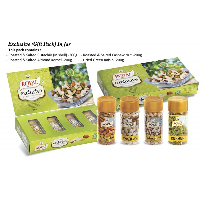 RDF Royal Dry Fruits 'exclusive' Gift Pack 200gx4 Pistachio, Badam Giri, Cashew, Raisins